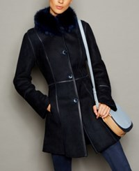 The Fur Vault Fox Trim Shearling Coat Navy
