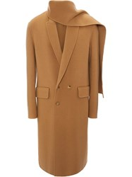 J.W.Anderson Jw Anderson Camel Double Face Wool Scarf Coat Brown