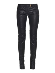 Balmain Low Rise Leather Biker Trousers