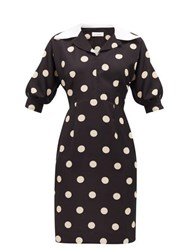 Wales Bonner Vilma Polka Dot Cady Dress Black White