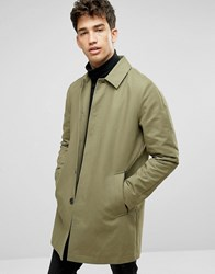 Asos Single Breasted Trench Coat With Shower Resistance In Light Khaki Light Khaki Green