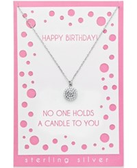 Macy's Crystal Pave Disc Pendant Necklace In Sterling Silver With Greeting Card