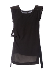 Ilaria Nistri Ruched Detail Layered Top Black