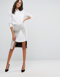 Y.A.S Skirt With White Pleat Insert Grey