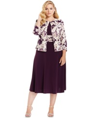 Jessica Howard Plus Size Empire Waist Dress And Printed Jacket