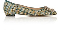 Manolo Blahnik Women's Hangisi Tweed Flats Green Blue Green Blue