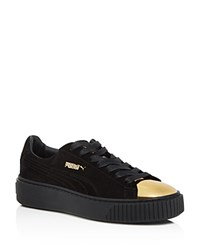 Puma Suede And Metallic Cap Toe Platform Creeper Sneakers Gold Black