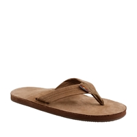 J.Crew Men's Rainbow Leather Flip Flops Dark Brown