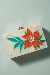 Anthropologie Tropical Flower Lucite Clutch White