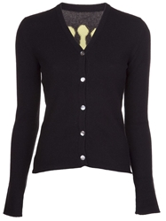 Lucien Pellat Finet Crown V Neck Cardigan Black
