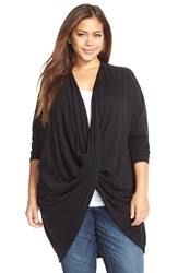 Tart 'Rose' Wrap Front Cardigan Plus Size Black