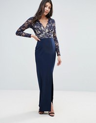 Jessica Wright Lace Sleeve Maxi Dress With Side Split Blue
