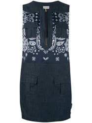 Moncler Sleeveless Denim Dress Women Cotton Polyamide Polyester 40 Blue