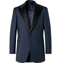 Maximilian Mogg Midnight Blue Slim Fit Faille Trimmed Mohair And Wool Blend Tuxedo Jacket Navy
