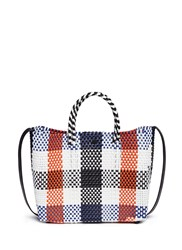 Truss Plaid Pvc Woven Crossbody Tote Multi Colour