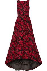 Alice Olivia Brylee Asymmetric Jacquard Gown Claret