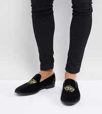 Asos Wide Fit Loafers In Black Velvet With Crown Embroidery