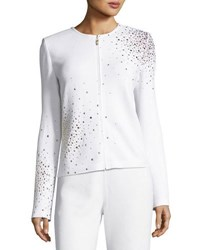 St. John Embellished Santana Knit Jacket White Gold