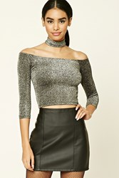 Forever 21 Glitter Knit Choker Crop Top Silver Black