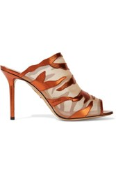 Charlotte Olympia Osa Metallic Textured Leather And Mesh Mules Copper