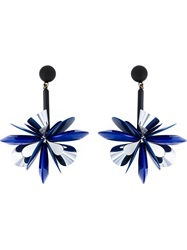 Erika Cavallini Semi Couture Flower Drop Earrings Blue