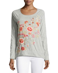 Jwla Floral Embroidered Raglan Tee Heather Gray