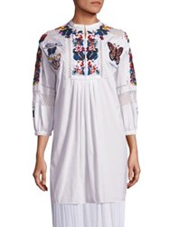 Valentino Embroidered Beaded Cotton Tunic White Multi