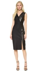 Jason Wu Leather Panel Sheath Dress Black
