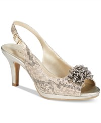 Karen Scott Briant Embellished Peep Toe Pumps Only At Macy's Women's Shoes Gold