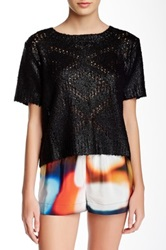 Twelfth St. By Cynthia Vincent Metallic Foil Detail Cropped Sweater Black