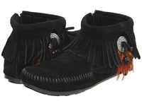 Minnetonka Concho Feather Side Zip Boot Black Suede Women's Pull On Boots