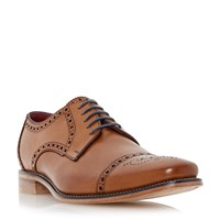 Loake Foley Brogue Toecap Leather Gibson Shoes Tan