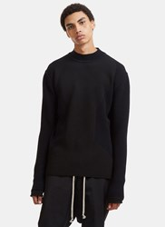 Rick Owens Level Lupetto Contrast Waffle Ribbed Knit Sweater Black