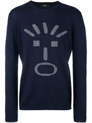 Fendi Faces Jumper Blue