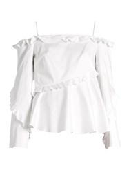 Anna October Cold Shoulder Long Sleeved Ruffle Top White