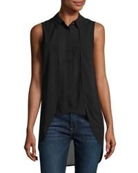 Philosophy Layered Front High Low Sleeveless Blouse Black
