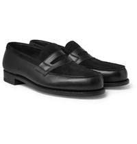 J.M. Weston Leather And Suede Penny Loafers Black