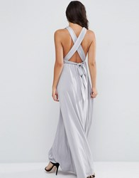 Asos Slinky Ruched Tie Back Maxi Dress Silver