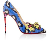 Christian Louboutin Women's Madame Menodo Snakeskin Pumps Blue Red Light Blue Blue Red Light Blue