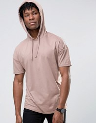 Asos Oversized Longline Hooded T Shirt In Pink Sibo Pink