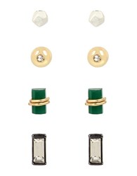 Kenneth Cole Green Stone Stud Earrings Set In A Gift Box