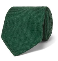 Drakes Drake's 8Cm Wool Silk And Cashmere Blend Tie Green