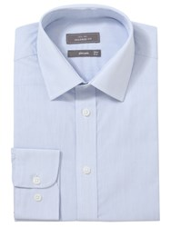John Lewis Tailored Easy Care Hairline Stripe Long Sleeve Shirt Blue