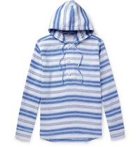 Orlebar Brown Penley Striped Linen And Cotton Blend Hoodie Blue