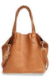 Street Level Slouchy Faux Leather Tote With Pouch Cognac