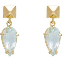 Monique Pean Women's Pear Shaped Aquamarine And Polished Pyramid Stud Drop Earrings No Color