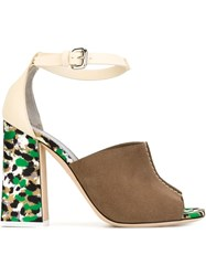 Pollini Printed Heel Contrast Panel Sling Back Sandals Nude And Neutrals