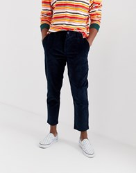 Pull And Bear Pullandbear Slim Fit Cord Trousers In Navy