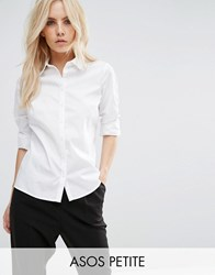Asos Petite Fitted White Shirt White
