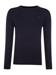 G Star Plain Crew Neck Pull Over Jumpers Blue